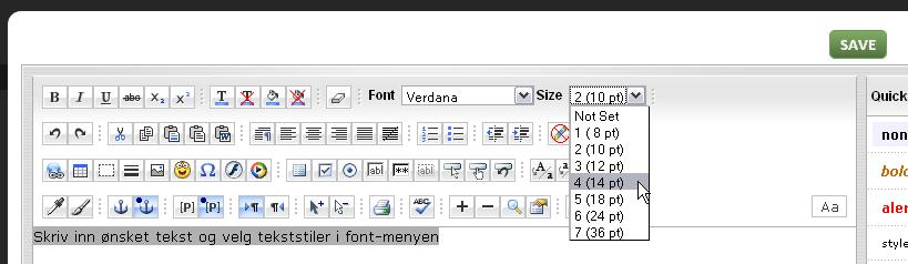 Rediger font, størrelse og farge