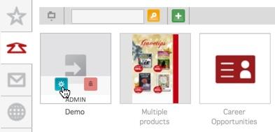 Admin-knappen på en annonsemal
