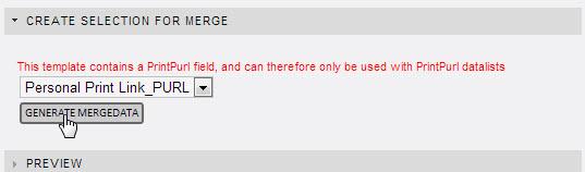 Velg datalisten dokumentet skal kobles til