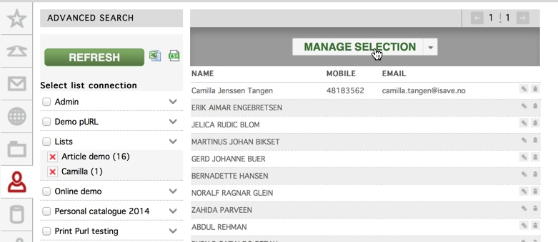 Manage selection