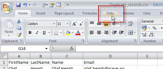 Slette duplikater i Excel