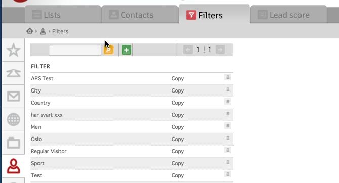 Grensesnitt filters