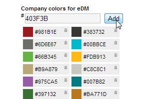 Legge inn bedriftens farger