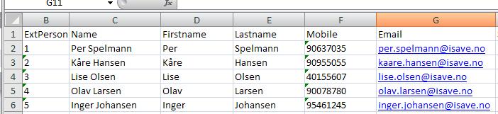 Visning av CSV-fil i Excel