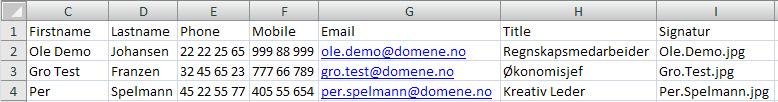Legg inn data om brukerne i CSV-filen