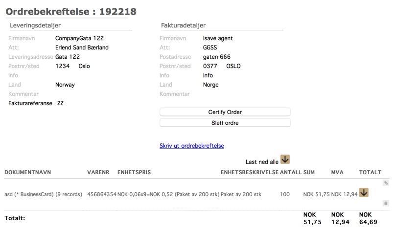 Visning av ordrebekreftelse som må sertifiseres
