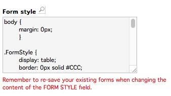 Legge inn CSS for skjemaet