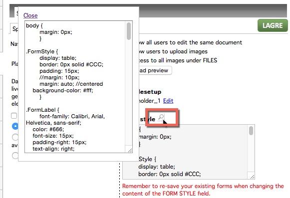 Default CSS koding for skjemaer