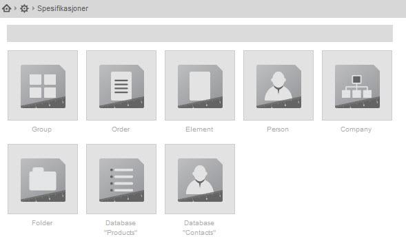 Velg database det skal legges til en spesifikasjon