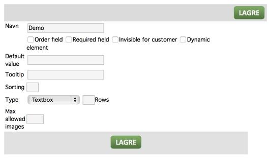 Data for spesifikasjoner på element databasen